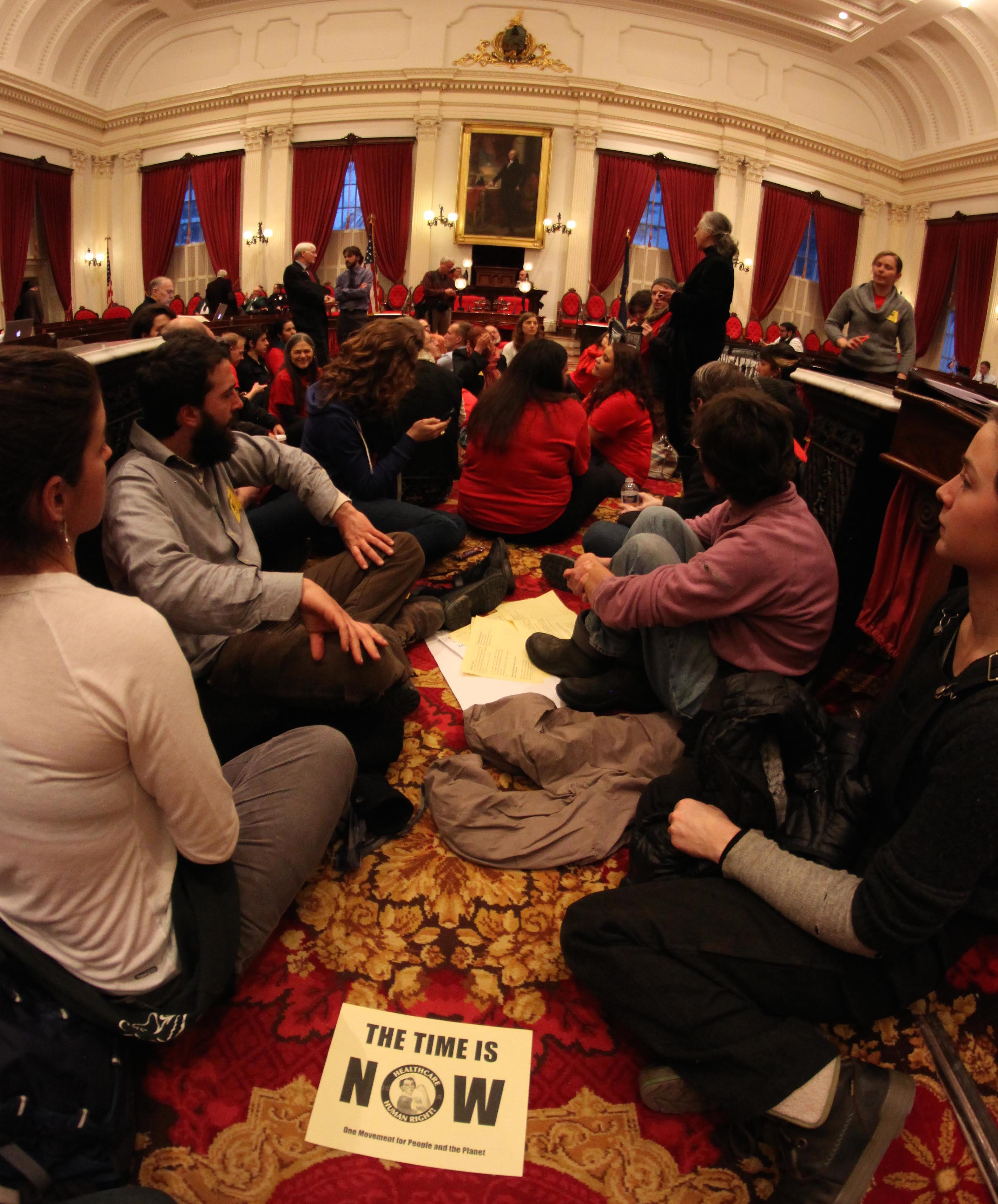 Photo of sit-in at statehouse