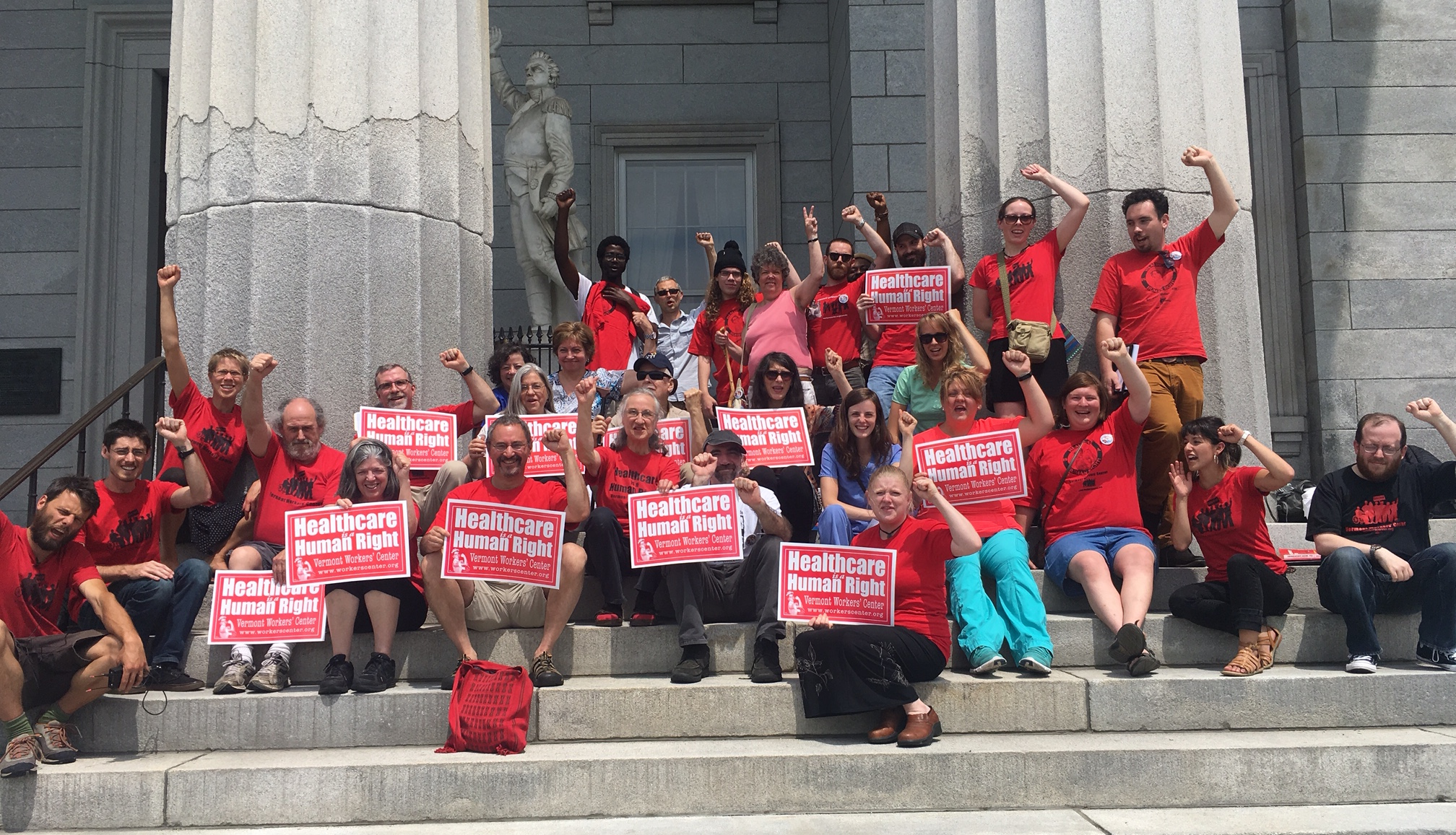 Photo of VWC members on statehouse steps