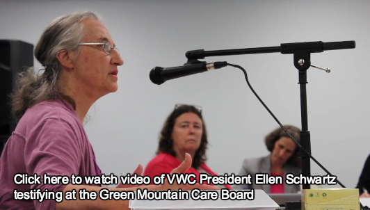 VWC President Ellen Schwartz testifying at the Green Mountain Care Board- Click for video